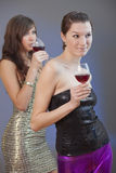 Party girls with drinks Royalty Free Stock Photo