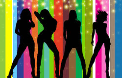 Party girls (silhouette) Stock Photo