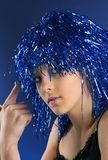 Party girs. Girl with blue party wig portrait Stock Photography