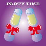 Party glass on purple background Royalty Free Stock Images