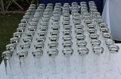 Party glasses ready for a reception Royalty Free Stock Image