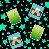 Party Glasses seamless pattern with stars stock illustration