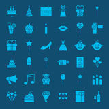 Party Glyphs Website Icons. Vector Set of Happy Birthday Symbols Royalty Free Stock Image