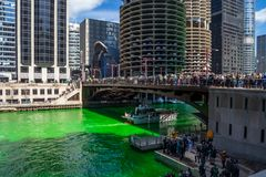 Party goers gather around and on a dyed green Chicago River royalty free stock images