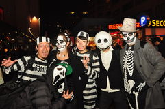 Party goers at Zombie Crawl and Parade, Toronto, Canada. Party goers on streets during Zombie Crawl and Parade on Church Street at night in Toronto, Ontario stock image