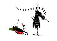 Party. A grasshopper with a violin and ladybird with a glass of wine Royalty Free Stock Photo