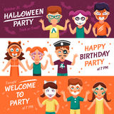 Party With Greasepaint Banners Set Royalty Free Stock Photography