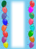 Party greeting card with balloons. Vertical align greeting card with colored party balloons on blue background with white stripe for text on middle Royalty Free Stock Images
