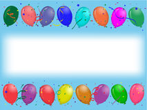 Party greeting card with balloons. Horizontal align greeting card with colored party balloons on blue background with white stripe for text on middle Royalty Free Stock Images