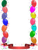 Party greeting card with balloons and ribbon Stock Photography