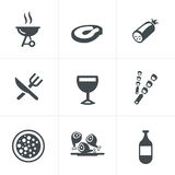 Party and grill icon set Royalty Free Stock Images