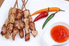 Party grilled skewers with chili Royalty Free Stock Images