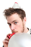 Party guy with a balloon Royalty Free Stock Photo