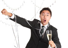 Party guy with champagne glass Royalty Free Stock Images