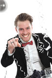 Party guy pointing at YOU Stock Photo