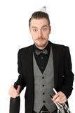 Party guy in suit and vest Stock Photos