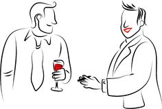 Party guys. Two men chatting at a party - line drawing Royalty Free Stock Image