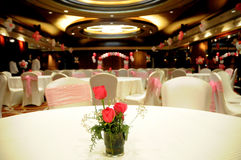 Party hall. Table setting and decoration in party hall Royalty Free Stock Photography