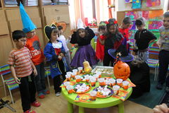 Party of Halloween. Children celebrating and party of Halloween at kindergarten in Bucharest,Romania stock image