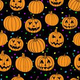 Party halloween vector  print seamless pattern with jack-o-lantern pumpkin  Stock Photography