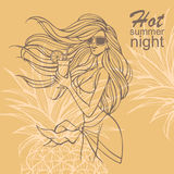 Party with hand-drawn girl with cocktail on a tropical background. Invitation card for a party with hand-drawn girl with cocktail on a tropical background Stock Images