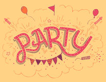 Party hand-lettering invitation card Stock Image