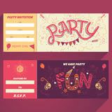 Party hand-lettering invitation ticket Royalty Free Stock Photography
