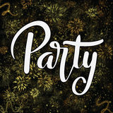 Party hand lettering text over festive background Stock Photo
