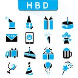 Party and happy birthday icons. Set of 16 party and birthday icons in black and blue color theme vector illustration