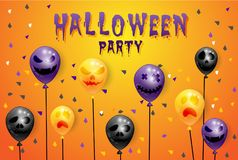 Party Happy Halloween on  background with balloons. Vector illustration Royalty Free Stock Photography