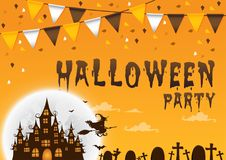 Party Happy Halloween on  background with flags and hunter house. Vector illustration Royalty Free Stock Image