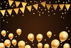 Party happy new year Balloons and Flags Gold Background. Vector stock illustration