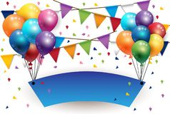 Party happy new year sign with Balloons and Flags Background. Vector vector illustration