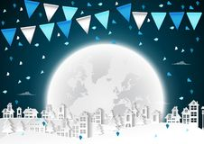 Party Happy winter on urban and full moon background with flags Royalty Free Stock Photos