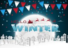 Party Happy winter on urban and full moon background with flags Royalty Free Stock Image