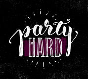 Party Hard Creative Motivation Banner Vector Concept on Grunge Distressed Background Royalty Free Stock Images