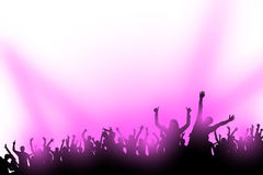 Party hard 01. Illustraion of crowd of dancing people with violet lights Royalty Free Stock Photo