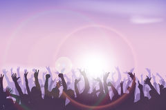 Party hard 03. Illustration of crowd of people dancing in sun lights stock illustration