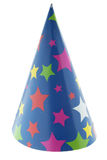 Party hat. Starred cone carton party hat on white stock images