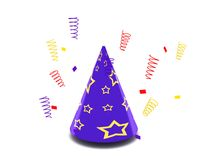 Party hat. Holiday. Party hat with confetti on white background. High quality 3d render Royalty Free Stock Photography