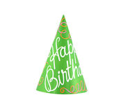 Party hat. Colorful party hat with cursive writing of happy birthday Royalty Free Stock Photos