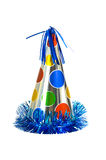 Party Hat. Brightly colored party hat on white background royalty free stock photo