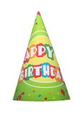 Party hat. Green happy birthday party hat isolated on white background Stock Photos