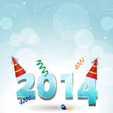 2014 party hat background. New Year 2014 background with party hats and streamers on blue Stock Images