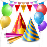 Party hat, balloon and horn set Royalty Free Stock Image