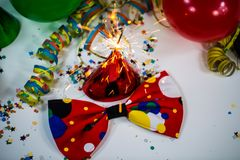 Party hat with bow and streamers. And ballon, frame, flyer Royalty Free Stock Photography