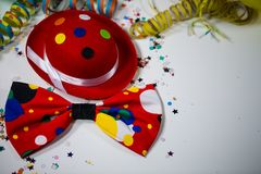 Party hat with bow and streamers. And ballon, frame, flyer Royalty Free Stock Photos