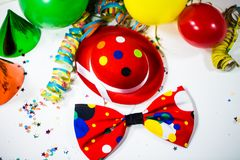 Party hat with bow and streamers. And ballon, streamer, festival Royalty Free Stock Photography