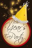 Party Hat, Button and Fireworks for New Year`s Eve. Round button with party hat and greeting message to celebrate New Year`s Eve Party and fireworks display in Royalty Free Stock Photo