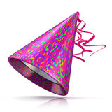Party hat. 3D illustration of purple hat with colorful rectangular pattern. Royalty Free Stock Image